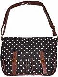 Ladies Polka Dot Across Body Canvas Satchel/Shoulder Bag/ Handbag, For School,Travel (Black/White Spots)