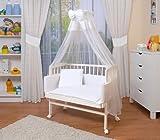 WALDIN Cuna colecho para bebé con equipamiento completo, lacado en blanco, 6 colores a elegir,blanco