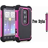 Anti-shock Dual Layer Hybrid Defender Case for Sprint HTC EVO 3D / Virgin Mobile HTC EVO V 4G - Soft and Hard Case Cover Skin + One Free Stylus Pen ( Dual Layer Case - Black and Hot Pink)