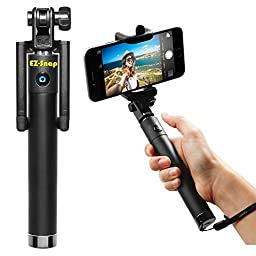 EZ-Snap 3-in-1 Self-Portrait Wireless Extendable Monopod Selfie Stick with Built-in Bluetooth Remote Shutter for iPhone 6, iPhone 6 Plus, iPhone 5, 5S, 5C, Android - Matte Black