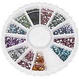 JOVANA 1800pcs 12 Color 1.5mm Nail Art Nailart Manicure Glitter Rhinestones Tips Round Shape Decoration + Wheel