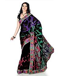 Designersareez Women Faux Georgette Embroidered Black Saree With Unstitched Blouse(1241)