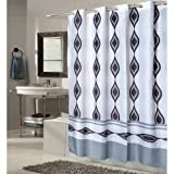 70' Wide X 84' Long Harlequin Blue And Gray Ez-on Hookless Shower Curtain