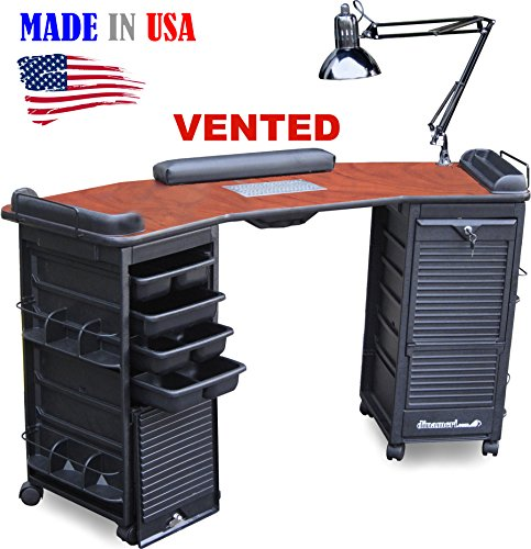 M603 Vented Manicure Nail Table Double Lockable Cabinet Cherry Top by Dina Meri (Dina Meri Manicure Vented Table compare prices)