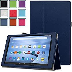 Fire HD 10 (2015 5th Gen) Case - HOTCOOL Slim New PU-Leather Folio With Auto Wake/Sleep Feature Cover Case For Amazon Kindle Fire HD 10.1 Inch (5th Generation - 2015 Release) Tablet, Navy Blue