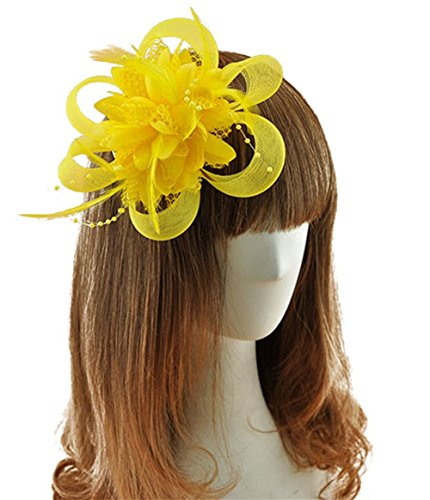 Coolr Fascinator Hair Clip Cocktail Headwear Flower Bridal Headpieces (Yellow ) (Tiny Hat Hair Clip compare prices)