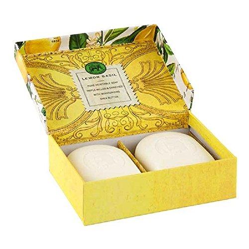 Michel Design Works Triple-milled Bar Lemon Basil Soaps in Decorative Box, 2 Bars