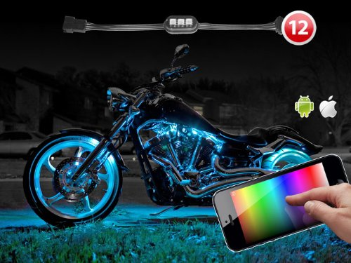 12 Pods Ios Android Iphone Ipad App Controlled Advanced Multi Color Led Motorcycle Neon Accent Underbody Lighting System Xk Carbon Series