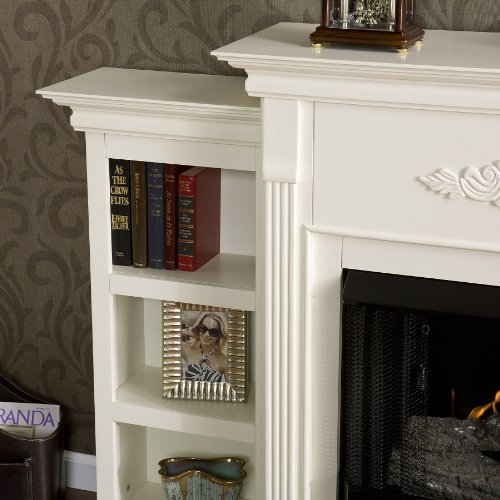 SEI Tennyson Gel Fuel Fireplace with Bookcases, Ivory