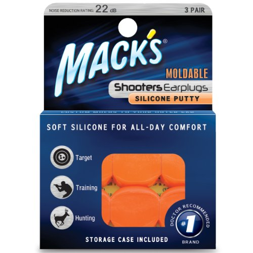 Mack's Shooters Moldable Silicone Putty Ear Plugs, Orange, 3 Pair (Silicone Shooting Target compare prices)