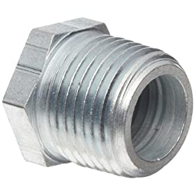 "Dixon 5406-6-4 Zinc Plated Steel Hydraulic Pipe Fitting, Hex Reducer Bushing, 3/8""-18 NPTF Male x 1/4""-18 NPTF Female"