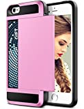 iPhone 5S Case, Vofolen(TM) iPhone 5S Wallet Case - Snap-on Black Soft Rubber Bumper + Hard PC Back Cover iPhone 5 5S Impact Resistant Hybrid Armor Defender Protective Bumper Case Shell with Card Holder Slot for Apple iPhone 5 5S (Pink)