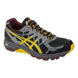 ASICS Men\'s Gel Fuji Trabuco 4 Neutral Running Shoe, Black/Spectra Yellow/Royal Burgundy, 12 M US