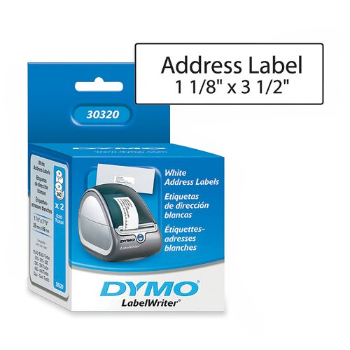 "DYMO LabelWriter Address Labels, White, 1-1/8"" x 3-1/2"", 2 Rolls/Box, 260 Labels/Roll, 520 Labels per box (30320)"