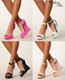 TIMELESS Ladies Patent Wedge High Heels Platform Ankle Peep Toe Sandal Shoe Summer Womens
