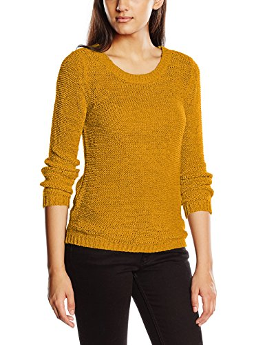 Only Onlgeena XO L/S Pullover Knt Noos - Felpa Donna, colore giallo (harvest gold), taglia  S