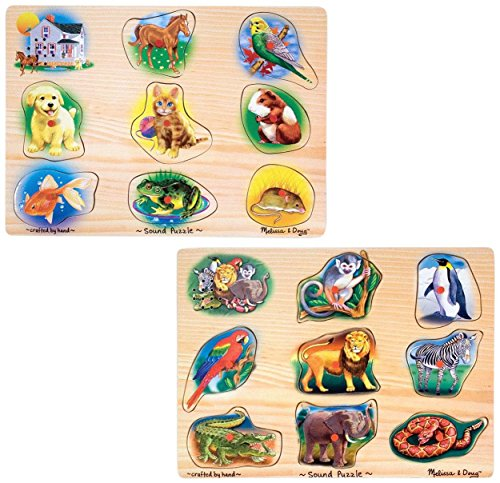 Melissa & Doug Sound Puzzles Set: Pets and Wild Animals - 8-Piece Wooden Peg Puzzles