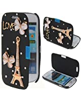 Semoss Bling Diamond Eiffel Tower PU Leather Flip Case Cover With Butterfly For Samsung Galaxy S3 Mini i8190