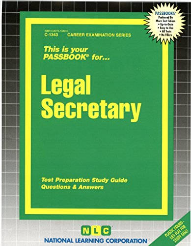 Legal Secretary(Passbooks) (Career Examination Passbooks)