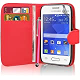 Excellent Accessories® Samsung Galaxy Young 2 SM-G130 - Premium Quality Exclusive Leather Easy Clip On WALLET / FLIP Case / Cover / Pouch With Card Holders + Free Clear Screen Protector + Polishing Cloth + Touch Screen Stylus Pen