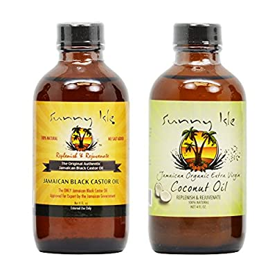 Sunny Isle Jamaican Black Castor Oil 4 Oz & Organic Extra Virgin Coconut Oil 4 Oz w/Applicator