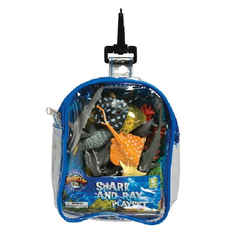 Shark and Stingray Playset: 12 Piece Toy set in Clip Bag for Play on the GO! - 1