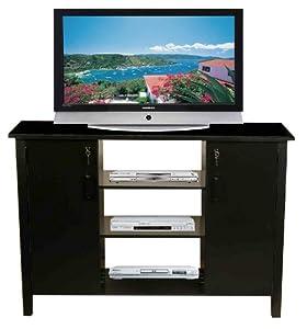 Venture Horizon Tv Stand / Multimedia Audio Video Locking and Storage Organizer Cabinet - Black