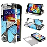 TUTUWEN View Window Painting Art Butterfly Style Design PU Leather Flip Stand Case Cover for Samsung Galaxy S5 mini SM G800