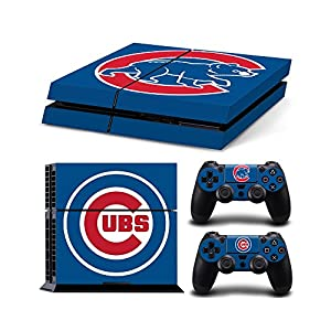 Sony PlayStation 4 Skin Decal Sticker Set Baseball Blue Pattern (2 Controller Stickers + 1 Console Sticker)