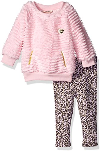 Juicy Couture Baby Girls' Faux Fur Top and Printed Pant Set, Gray, 12 Months