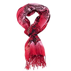 Christian Audigier 80x40 Face and Crown Fringe Scarf - Pink