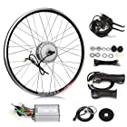 SainSpeed Electric Bicycle Motor Conversion Kit with Hub Motor with wheel, Charger, Controller, Speed Throttle, Brake Lever, Hand Grip, Pedal Assistant System, Power Indicator, Power Cable, Battery Bag (26 Rear)