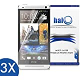 Halo Screen Protector Film High Definition (HD) Clear (Invisible) for HTC One M7 (3-Pack) - Lifetime Replacement Warranty