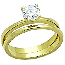 buy Shaniqua: 0.75Ct Ice On Fire Cz 2 Pc. Wedding Ring Set 316 Steel Ip Gold-Tone Finish, 3241 Sz 7.0