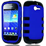 Blue Black Tuff Shield Dual Hybrid Gel Case Rubberized Cover For Huawei Ascend Y M866