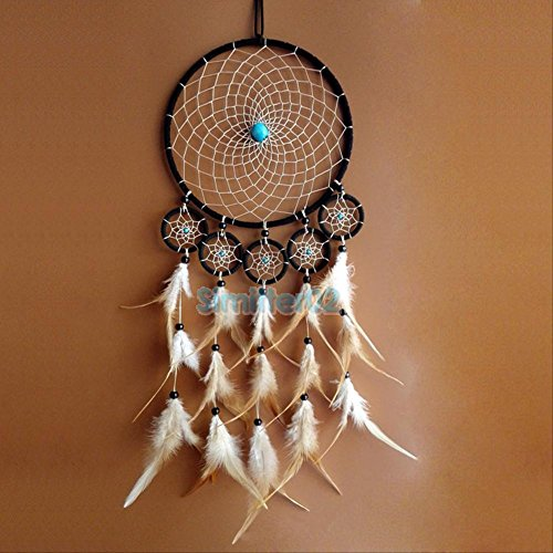 Handmade Brown Dream Catcher With Feathers Wall Hanging Decoration Ornament Gift (Reed Broom compare prices)