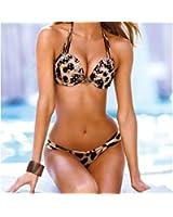 Leapord With Diamond Push up Padded Low Rise Beach Bikini Set Swimwear 2PCS NEW Lady Women Girls Padded Animal Print