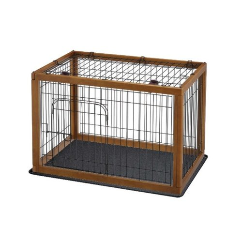 Richell Wood Pet Pen 90-60 Combo, Autumn Matte Finish