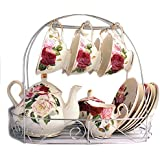 European Bone China,The butterfly lingers over the flower Printed Ceramic Porcelain Tea Cup Set With Lid And Saucer,metal holder in the picture is not included