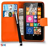 Nokia Lumia 635 Premium Leather Orange Wallet Flip Case Cover Pouch + Big Touch Stylus Pen + Screen Protector & Polishing Cloth SVL2 BY SHUKAN®, (WALLET ORANGE)