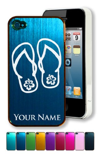 Engraved Aluminum iPhone 4/4S Case/Cover - BEACH SANDALS - Personalized for Free