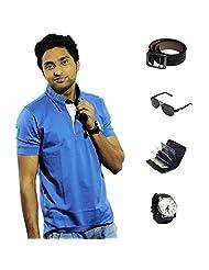 Garushi Blue T-Shirt With Watch Belt Sunglasses Cardholder