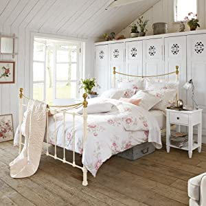 feather & black Canterbury Double Bed 4 ft 6-inch Iron Double Bedstead with Solid Brass Finials and Top Rails, Ivory