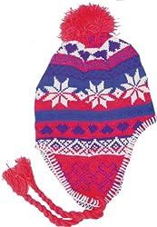 True Gear Winter Earmuff Knit Ski Pom Pom Hat (red white purple blue)