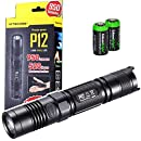 NITECORE P12 950 Lumens high intensity CREE XM-L2 LED long throw tactical flashlight with 2X EdisonBright CR123A Lithium Batteries