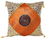 Embrace Cotton Blend Home Decorative Traditional Floral Printed Fringe Throw Pillow Cushion Cover Case Orange