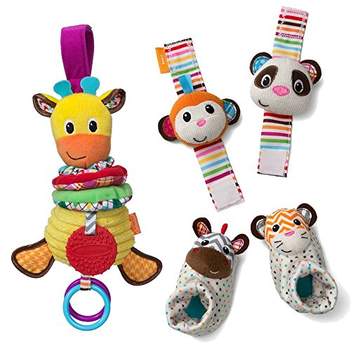 Infantino-See-Play-Go-Toy-Bundle-Foot-and-Wrist-Rattles-Musical-Giraffe