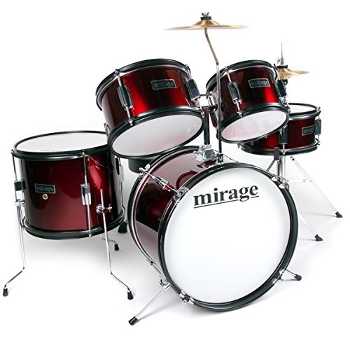 mirage-jdk-5-piece-junior-drum-kit-with-stool-and-sticks-red