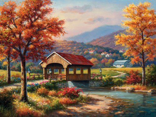 Covered Bridge in Fall a 500-Piece Jigsaw Puzzle by Sunsout Inc.
