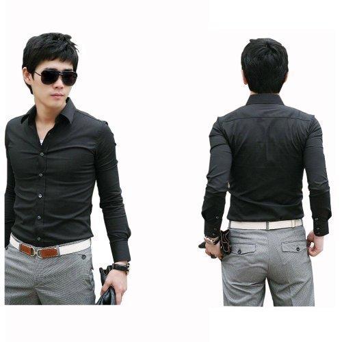 **Premium** Luxus Lässige Langarm Herren Männer Hemd Hemden Stilvolle Kleiden Schwarz Grösse XS von Avcibase